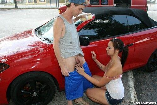 Ashley storm washing car and prostate milking giant pride public