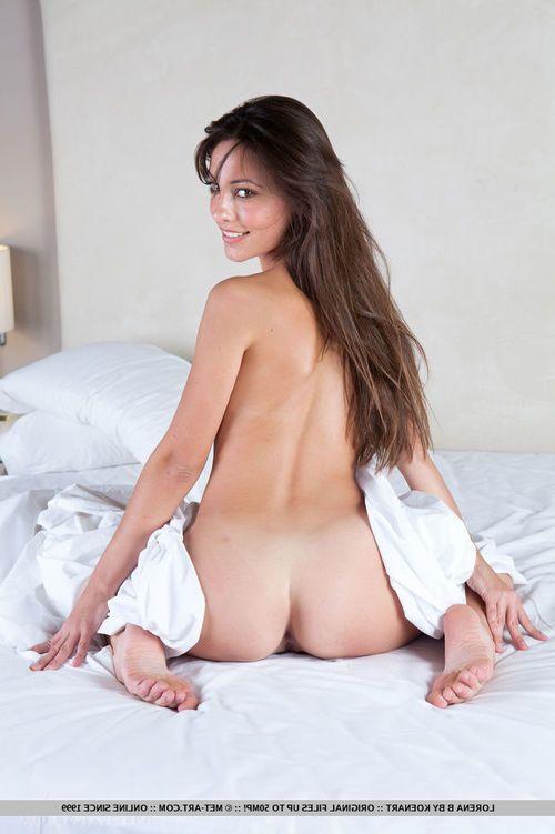 Miniature sexy pants sample Lorena B unveiling furry adolescent muff on sofa