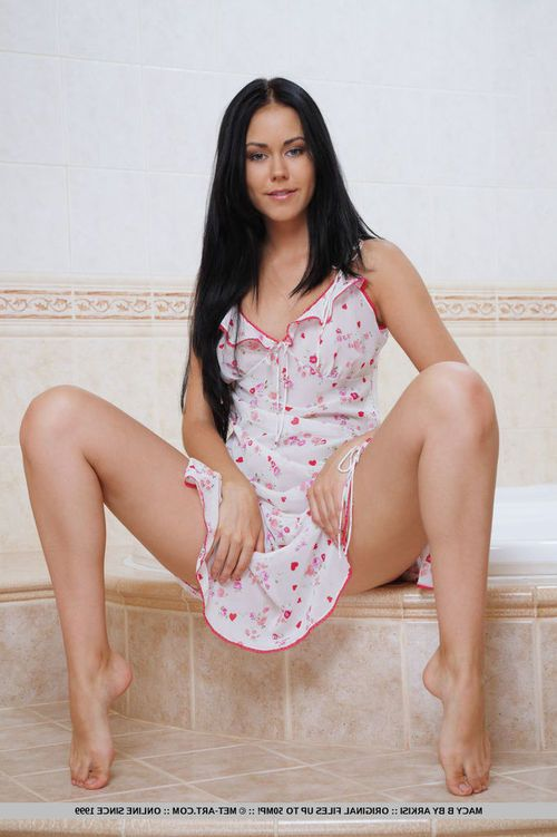 Wiry raven-haired bombshell Macy takes her clothes off down in the washroom