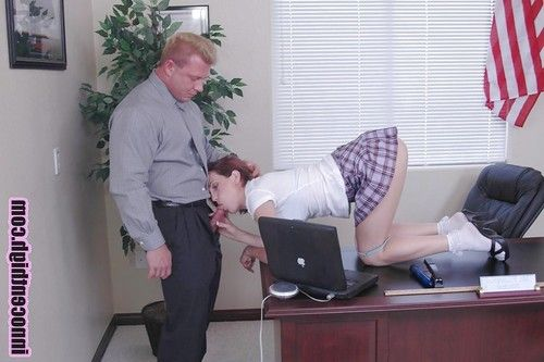 Schoolgirl adolescent gives a impressive oral play in the office cabinet