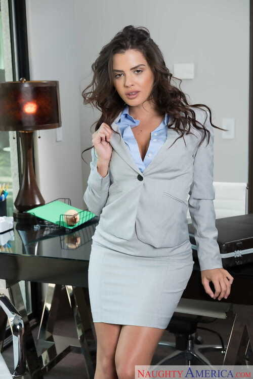 Damp boss lady Keisha Grey stripped off off her business attire in her office