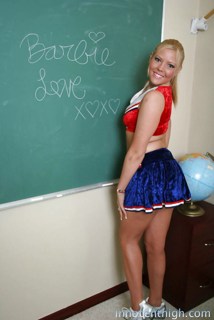 Giant apple bottoms and tit golden-haired schoolgirl infant Barbie looks so extreme exposed