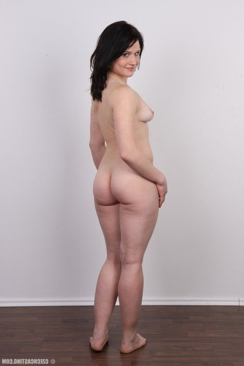 Compact adolescent brunette hair standing undressed