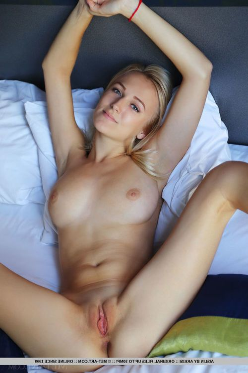 Blonde gal with perking juvenile wobblers sliding undies aside to undressed hairless muff