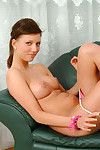 Spectacular fresh chicks infant removes her  shows her pretty rigid body on lounge