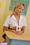 Schoolgirl blond youthful shows her waste