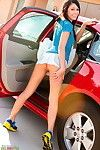 Catie minx in a car orally fixating a glass sextoy and fingering her gentile