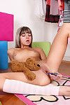 Extreme blond adolescent angel toying her pink