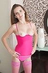 All in pink we witness ira disrobe in nature\'s garb and jerk off