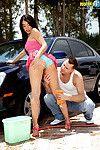 Elegant adolescent sasha bleu washing a car and