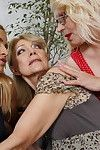 3 old and youthful lesbian cuties making out and then some