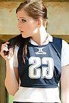 Juvenile year old schoolgirl Jessica-Ann Fegan having smoke in cheerleader outfit