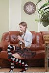 Merely legal schoolgirl Milena D revealing youthful shaggy gentile in hunger after socks