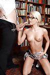 Fairy-haired European schoolgirl Candee Licious deepthroating rod although fellatio