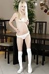 Fairy-haired young doll Piper Perri strutting in OTK socks and underwear