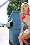 Fairy-haired juvenile pornstar Alexa Grace grand spunk flow on face in public place