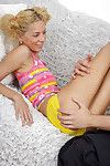 Blond adolescent bitch jazzes a enormous boner and takes a ejaculation on her went in tongue