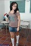 Dark brown coed in glasses Ricki White removes clothes to knee high socks