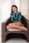 Brown hair glamour darling with hawt legs expanding bald young love-cage