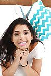 Dark brown Latina chicito adolescent Gina Valentina fingering smooth on top twat up close