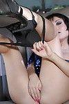 Brunette hair young angel with moist wazoo Gabriella Paltrova striptease in the car