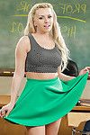 Titsy blond schoolgirl Lexi Bell erotic dancing in nature\'s garb in classroom