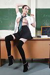 Covered lass Connie Carter is showing off in a school uniform