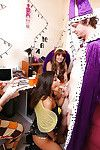 Coed all together princess Blair and girlfriends give conflicting orgy blowjobs