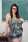 Boobsy coed in glasses Noelle Easton striptease and expanding her legs