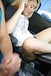 Glamorous young coed Lucy Tyler playing with dick shiny on top uterus in car
