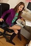 Fabulous juvenile in knee socks undressing and swelling her legs at her workplace