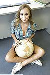Fabulous coed Alexis Adams baring giant average milk sacks in classroom