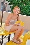 Attractive fresh dear trips a colossal banana in her soaked love-cage outdoors