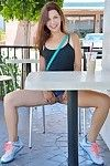 Nice-looking amateur darling flashes no panty upskirt outdoors previous to posing exposed indoors