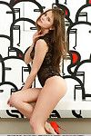 Euro glamour amateur Caprice A in high heels posing to show unclothed cage of love