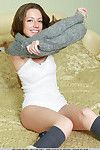 European glamour girl Mika A unleashing petite young tots in knee socks
