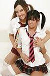 Euro schoolgirls Katie K and Sasha Rod licking female-on-female cunts