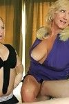 Fatty seasoned golden-haired teaching her rounded young associate how to engulf a stick