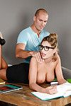 Glasses adorned coed August Ames making pornstar debut exactly after massage