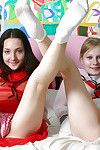 Lustful amateur darlings erotic dance and having lesbo liking on the couch