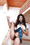 Latin cutie angel Veronica Rodriguez flashing upskirt schoolgirl underwear and waste