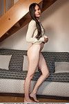 Leggy brunette hair chicito Vanessa Queen flowing out fur pie juice from amplify bawdy cleft