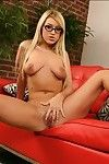 Tempting fairy-haired in glasses Memphis Monroe exposing mammoth bazookas and anus