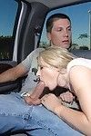 Bawdy fairy coed Kylee Reese gives a deepthroat facefucking in the car