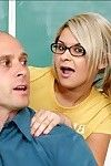 Bawdy coed in glasses Brandi Lace seduces her mentor for sweaty smokin\'