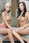 Nasty college angels Alektra Blue and Julia Servant enjoying female-on-female act of love