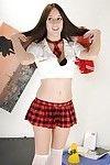 Wonderful schoolgirl Jennifer Sloan is showing her arse in her red short skirt