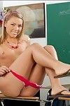 Little adolescent Assistant Kay disrobes in classroom and widens her cum-hole