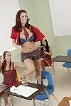 Schoolgirl with major bra buddies in uniform Kylee Strutt rides a weighty penis