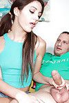 Diet dark hair in pigtails gives granddad a CFNM hand gig on sofa